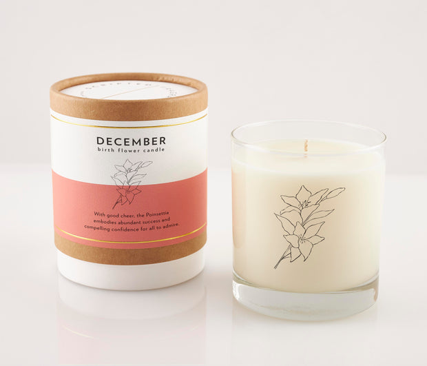 December Birth Month Flower Soy Candle with Signature Silhouette Glass
