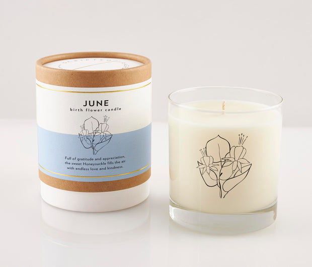 June Birth Month Flower Soy Candle in Signature Silhouette Glass