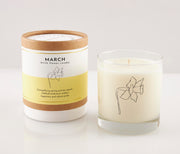 March Birth Month Flower Soy Candle in Signature Silhouette Glass