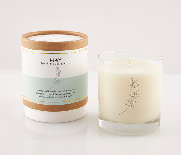 May Birth Month Flower Soy Candle in Signature Silhouette Glass 1