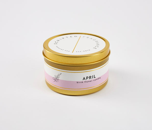 April Birth Month Flower Soy Candle in Large Luxe Gold Tin