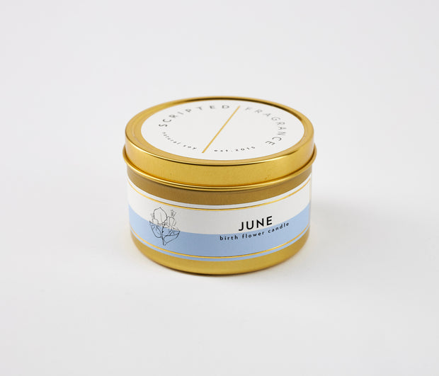 June Birth Month Flower Soy Candle in Large Luxe Gold Tin