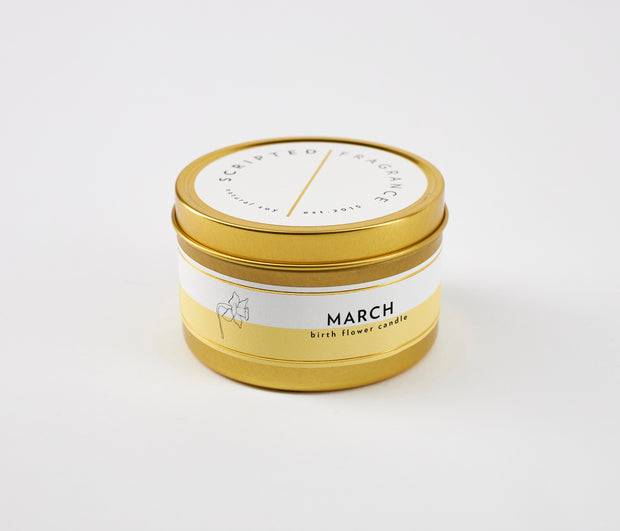 March Birth Month Flower Soy Candle in Large Luxe Gold Tin