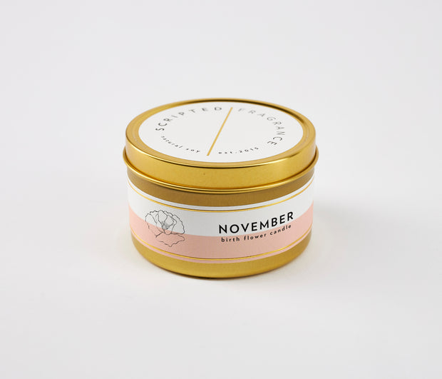 November Birth Month Flower Soy Candle in Large Luxe Gold Tin