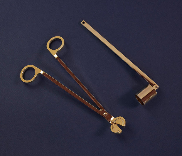 Gold Candle Accessories Set - Wick Trimmer & Snuffer