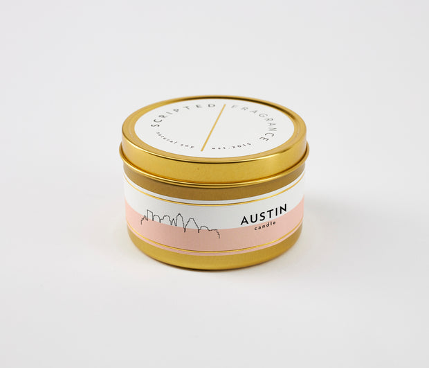 Austin City Soy Candle in Large Luxe Gold Tin