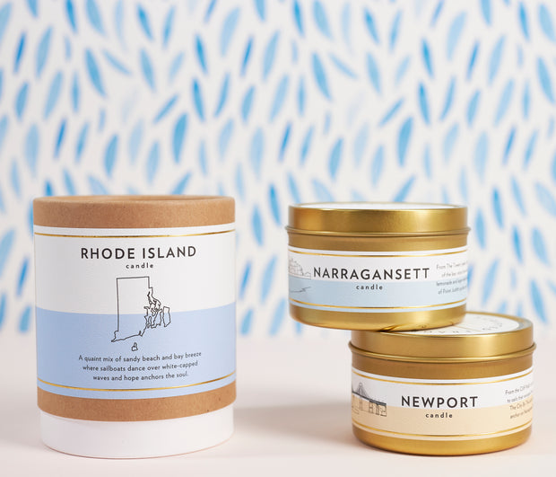 Narragansett, Rhode Island City Soy Candle in Large Luxe Gold Tin