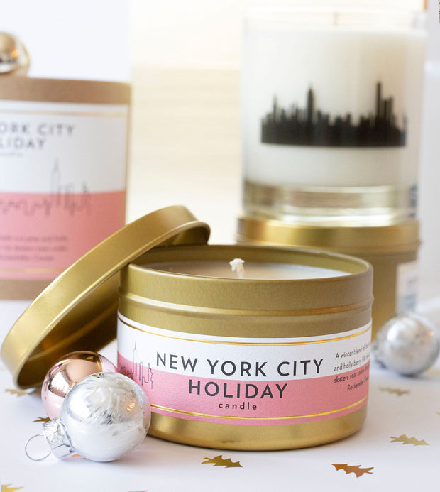 New York City Holiday Soy Candle in Large Luxe Gold Tin