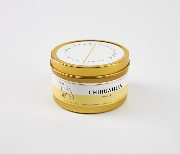 Chihuahua Dog Breed Soy Candle in Large Luxe Gold Tin
