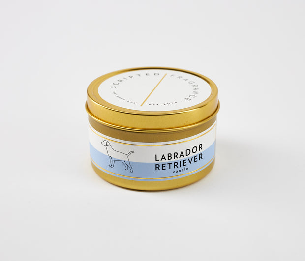 Labrador Retriever Dog Breed Soy Candle in Large Luxe Gold Tin