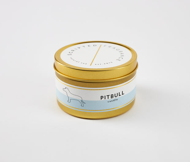 Pitbull Dog Breed Soy Candle in Large Luxe Gold Tin