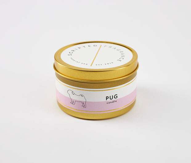 Pug Dog Breed Soy Candle in Large Luxe Gold Tin