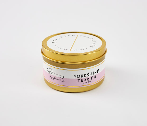 Yorkshire Terrier Dog Breed Soy Candle in Large Luxe Gold Tin