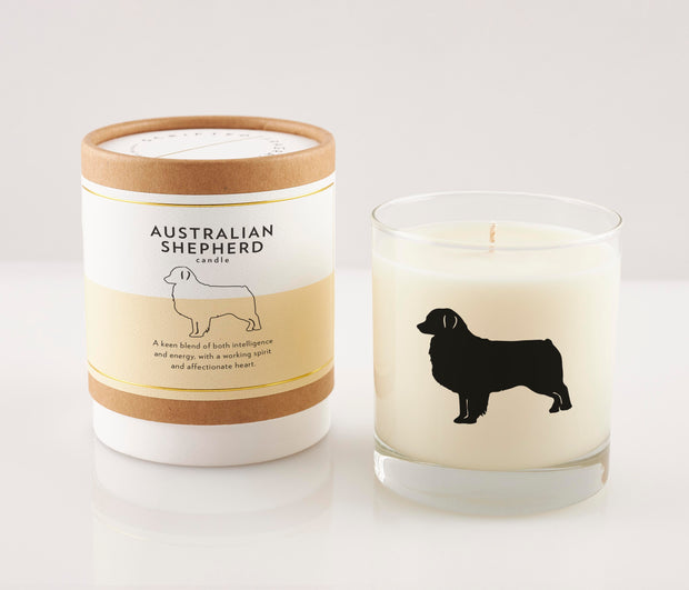 Australian Shepherd Dog Breed Soy Candle with Signature Silhouette Glass