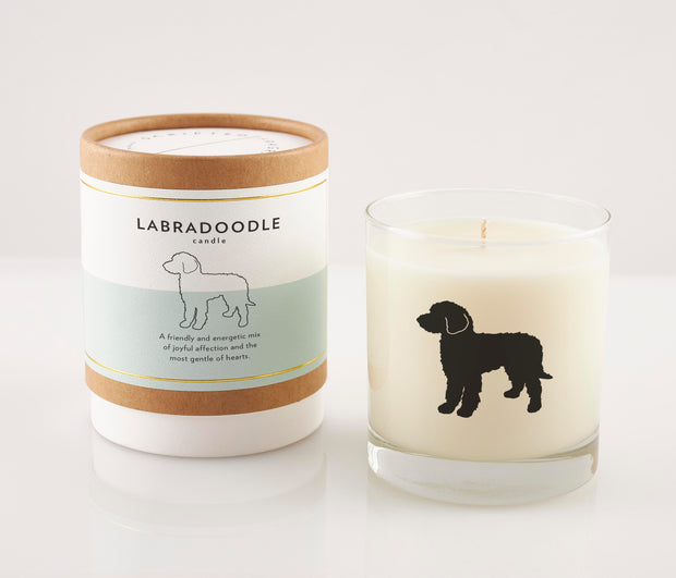 Labradoodle Dog Breed Soy Candle with Signature Silhouette Glass