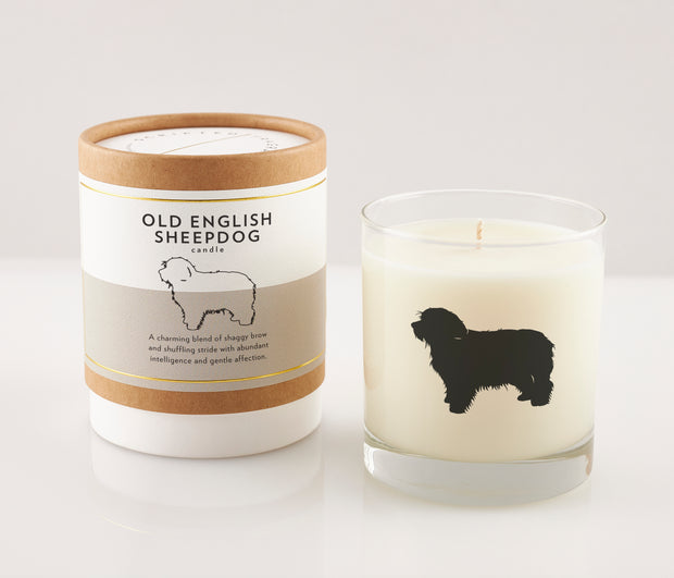 Old English Sheepdog Breed Soy Candle in Signature Silhouette Glass