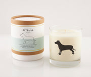 Pitbull Dog Breed Soy Candle in Signature Silhouette Glass
