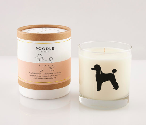 Poodle Dog Breed Soy Candle in Signature Silhouette Glass