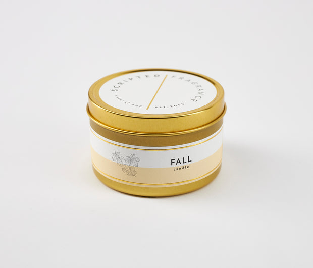 Fall Seasonal Soy Candle in Large Luxe Gold Tin