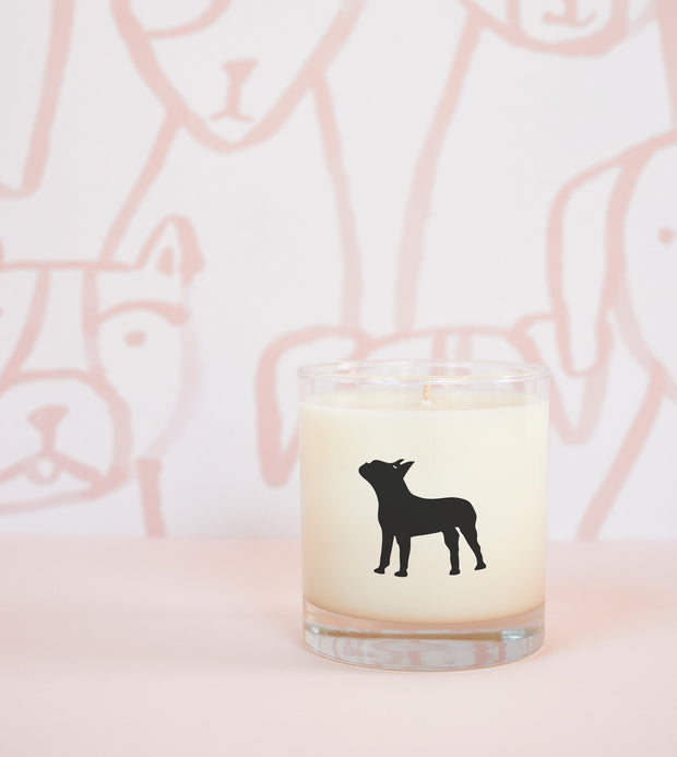 Boston Terrier Dog Breed Soy Candle in Signature Silhouette Glass