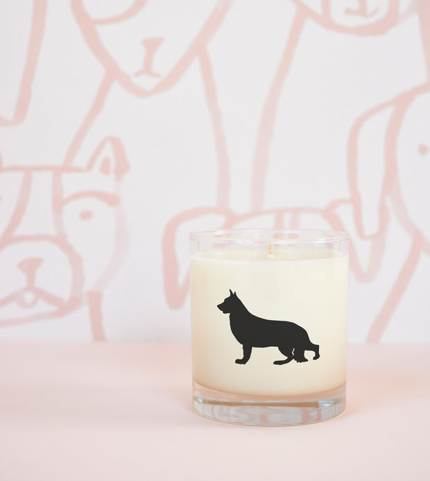 German Shepherd Dog Breed Soy Candle with Signature Silhouette Glass
