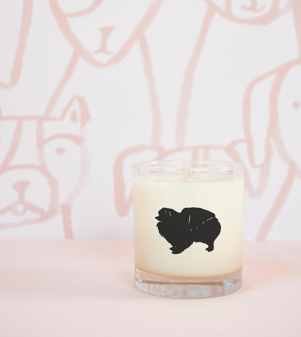 Pomeranian Dog Breed Soy Candle in Signature Silhouette Glass