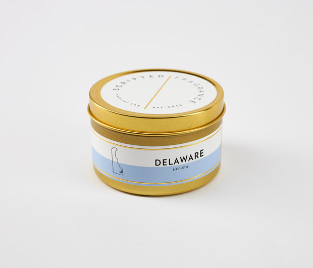 Delaware State Soy Candle in Large Luxe Gold Tin