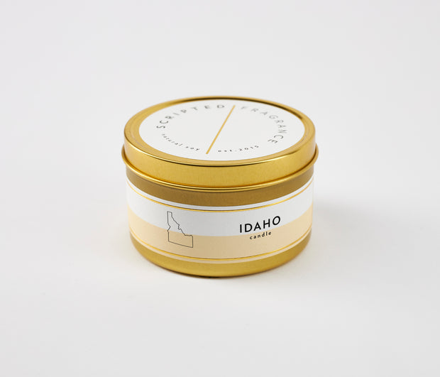 Idaho State Soy Candle in Large Luxe Gold Tin