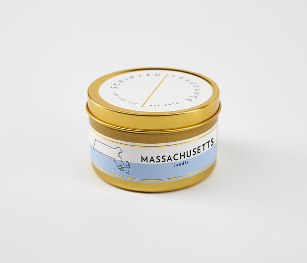 Massachusetts State Soy Candle in Large Luxe Gold Tin