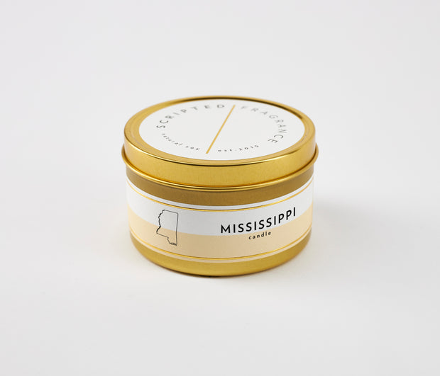 Mississippi State Soy Candle in Large Luxe Gold Tin