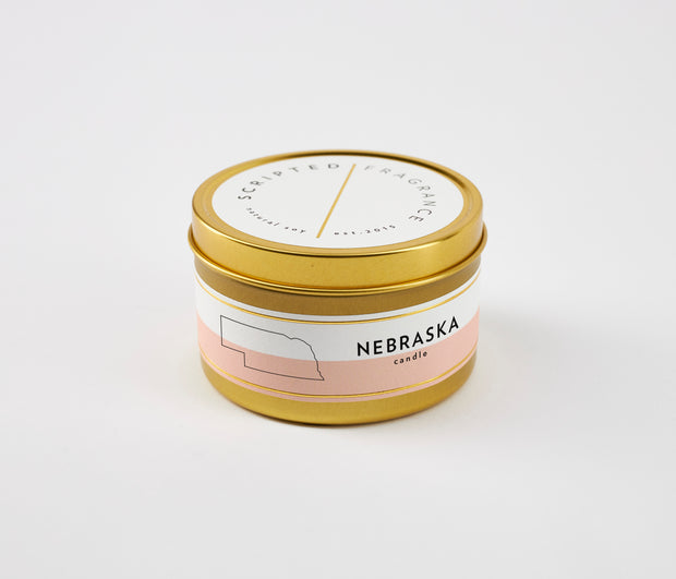 Nebraska State Soy Candle in Large Luxe Gold Tin