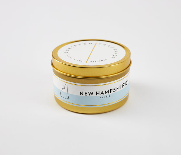 New Hampshire State Soy Candle in Large Luxe Gold Tin
