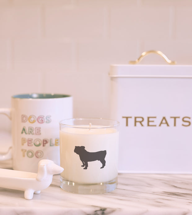 Bulldog Dog Breed Soy Candle with Signature Silhouette Glass