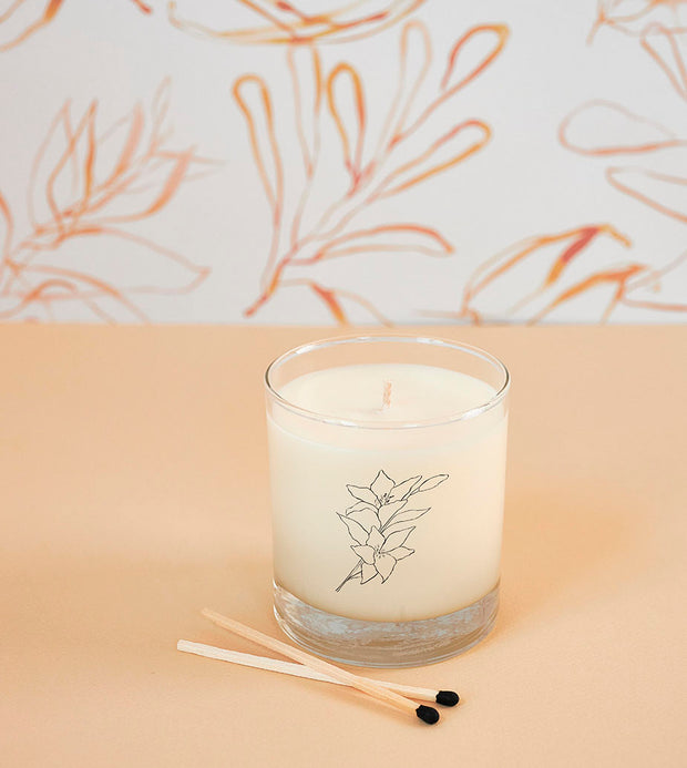 December Birth Month Flower Soy Candle in Signature Silhouette Glass