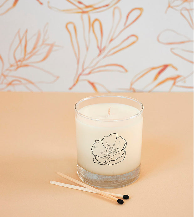 February Birth Month Flower Soy Candle in Signature Silhouette Glass