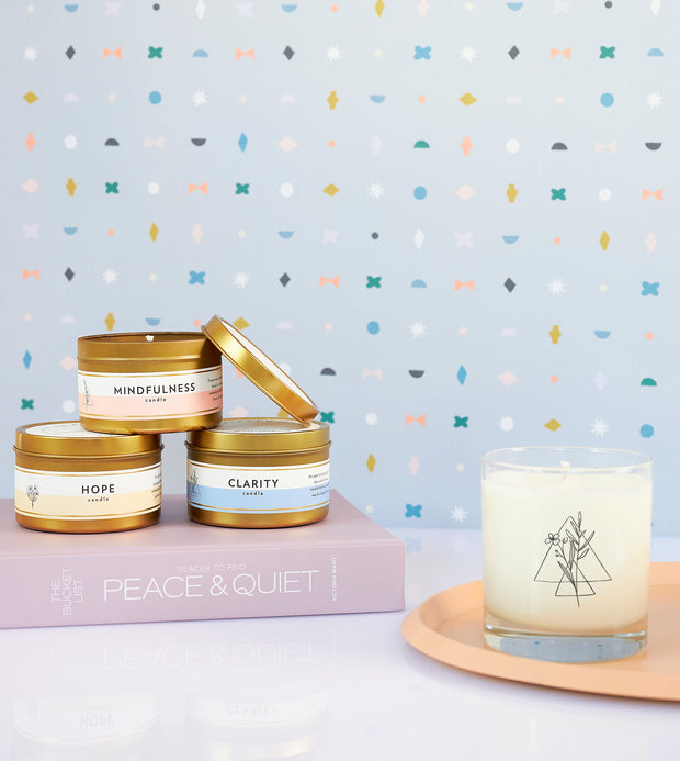 Clarity Wellness Meditation Soy Candle in Large Luxe Gold Tin