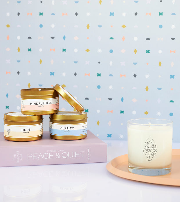 Relaxation Wellness Meditation Soy Candle in Large Luxe Gold Tin