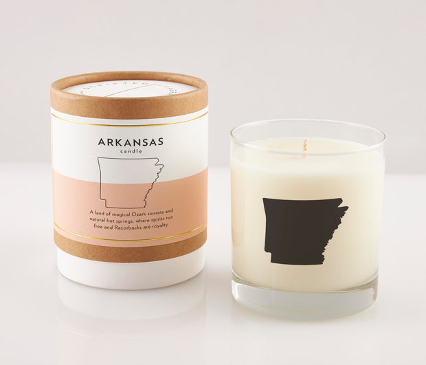 Arkansas State Soy Candle in Signature Silhouette Glass