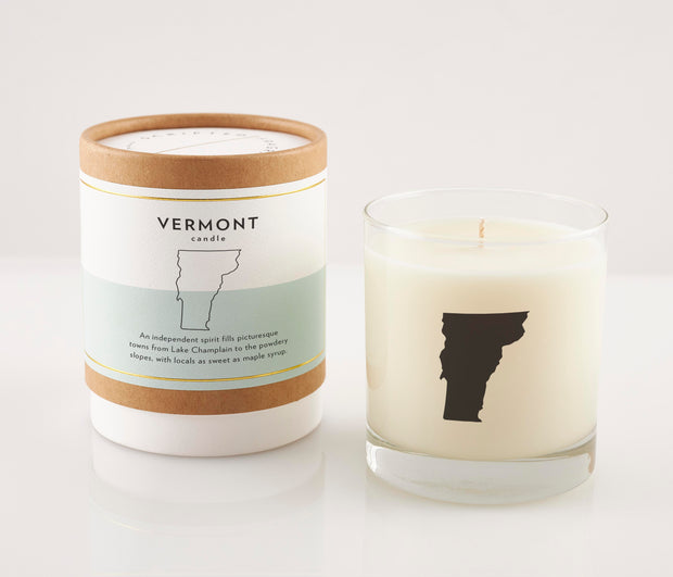 Vermont State Soy Candle with Signature Silhouette Glass