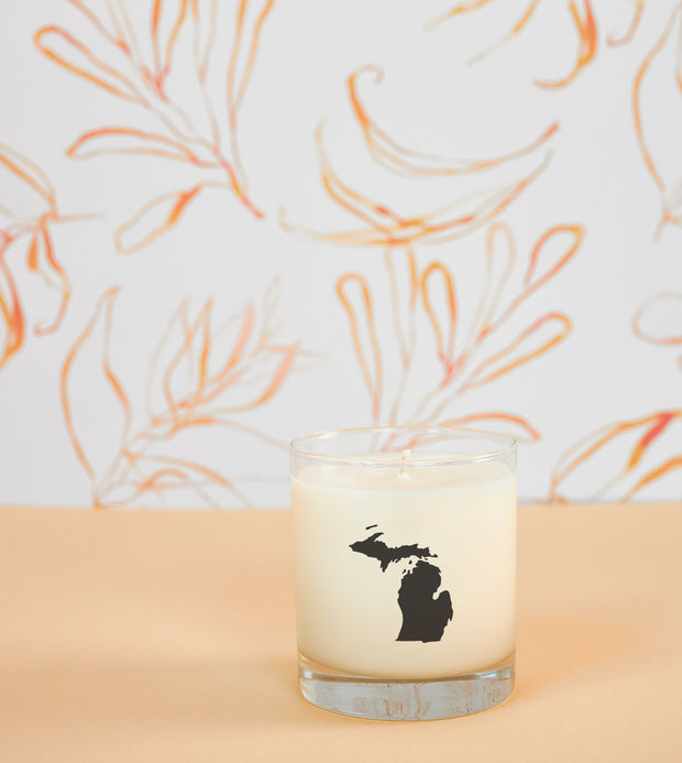 Michigan State Soy Candle in Signature Silhouette Glass 1