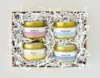 Seasonal Collection Gift Set |  4 Mini Gold Tin Soy Candles