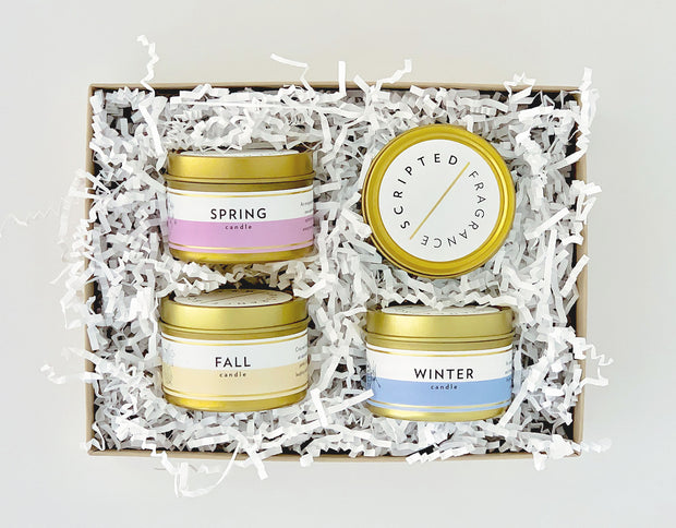 Seasonal Collection Gift Set |  4 Mini Lux Gold Tin Soy Candles
