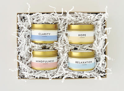 Meditation and Wellness Collection Gift Set |  4 Mini Gold Tin Soy Candles