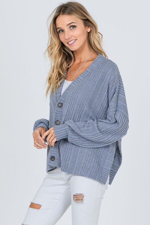Blue Boxy Knit Cardigan
