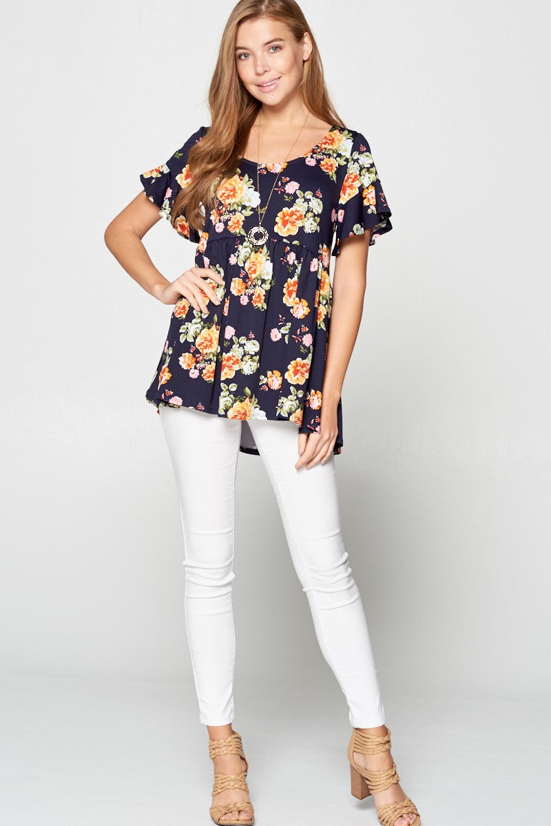 The Navy Floral Peplum