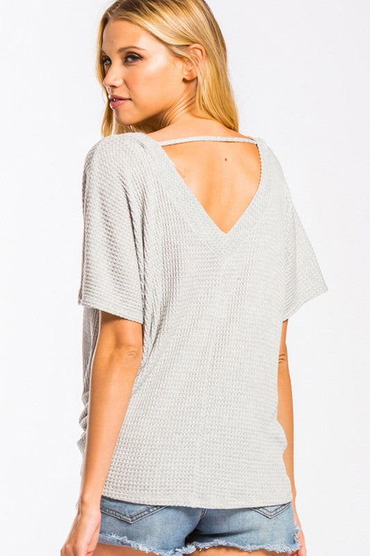 The Wendy Waffle Top in Grey