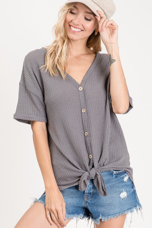 Charcoal Front Tie Waffle Top