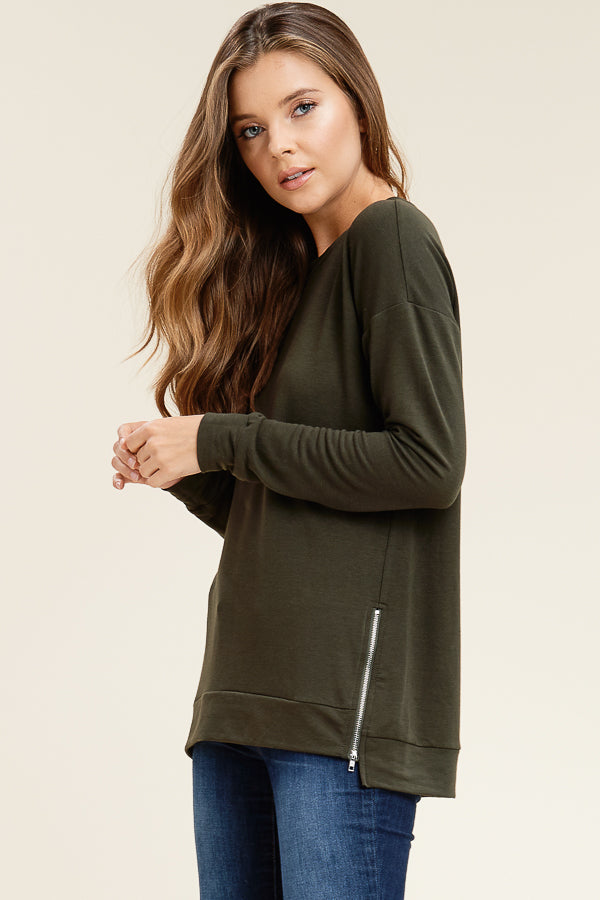 Olive Double Zip Sweater