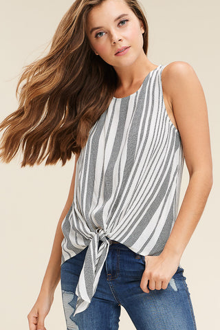 Brick Ruffle Sleeve Tie Top