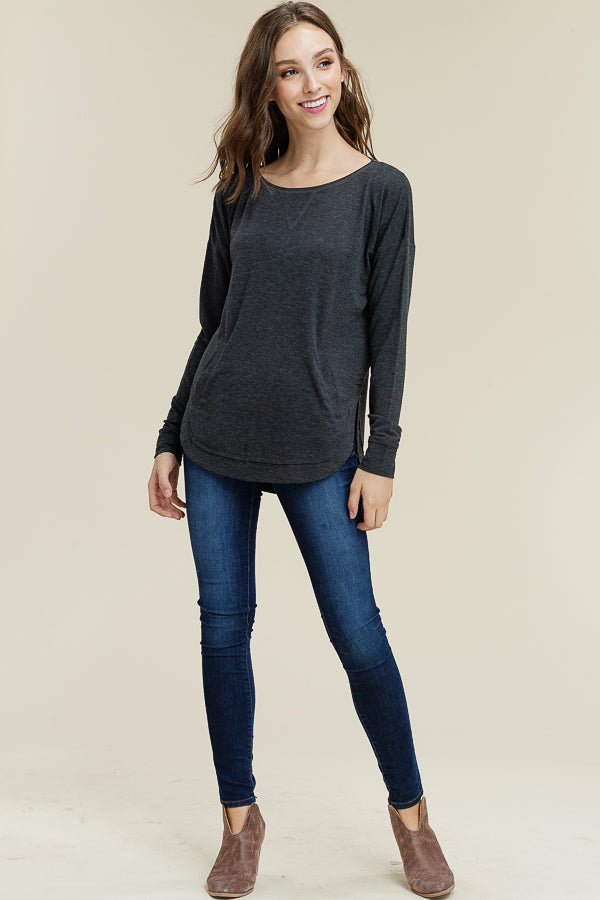 Charcoal Rounded Pocket Top
